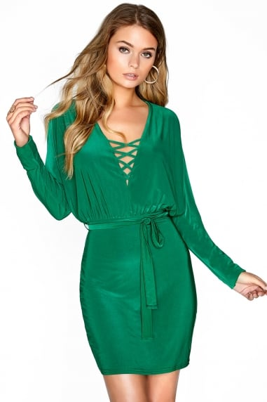 Green Mini Tie Dress