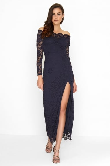 Navy Long Sleeve Fishtail Maxi