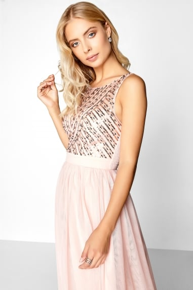 Salmon Sequin Midi Dress