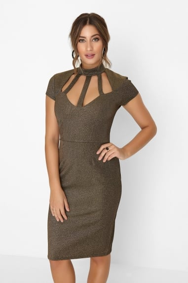 Gold Cage Bust Dress