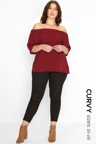 Burgundy Bardot Top