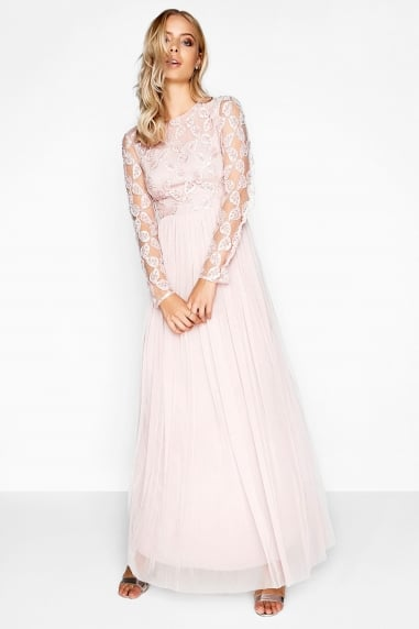 Pink Embroidered Maxi