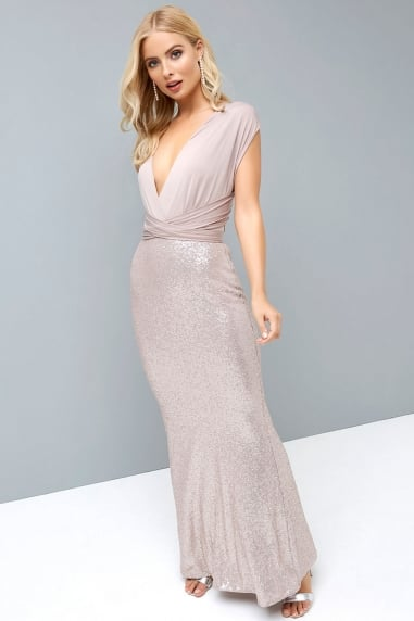 Mink Multiway Maxi Dress with Sequin Skirt