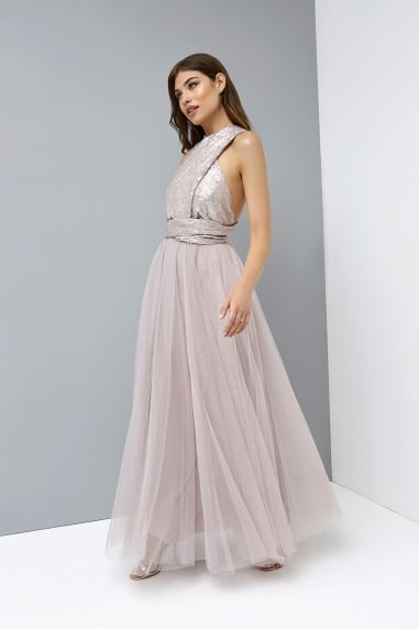 Mink Multiway Maxi Dress with Sequin Top
