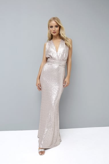 Mink Sequin Multiway Maxi Dress