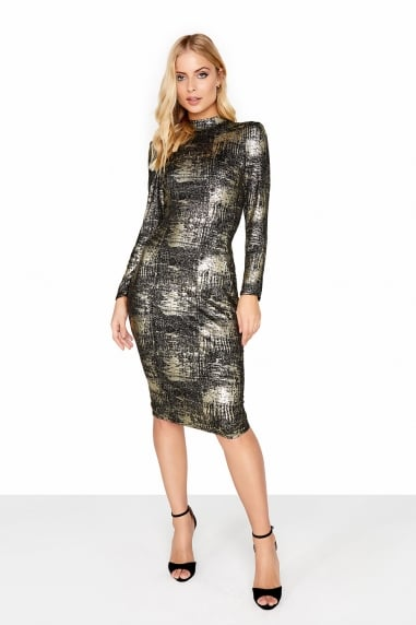 Gold Foil Bodycon Dress
