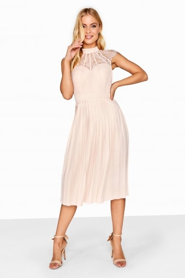 Nude Pleated Midi Dress