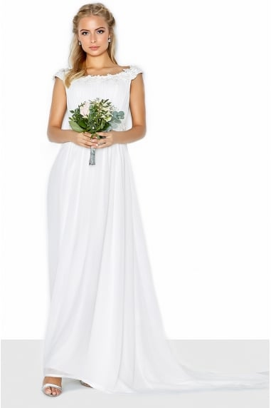 Bardot Lace Trim Bridal Dress
