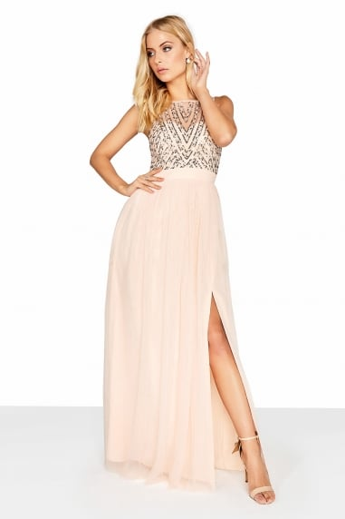 8b6d5b79f25 Outlet Little Mistress Nude Mesh Maxi