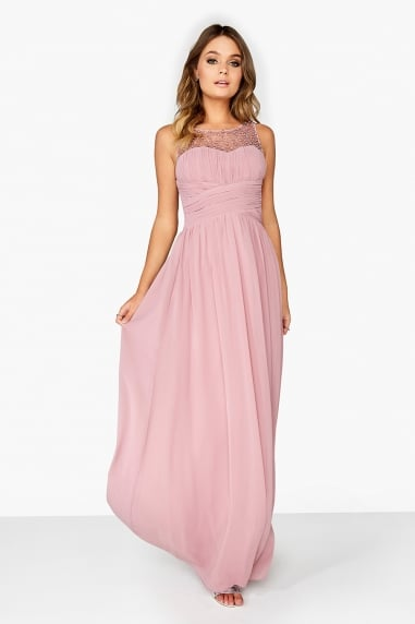 Grace Pink Embellished Neck Maxi Dress