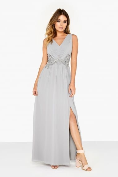 Grey Trim Maxi Dress