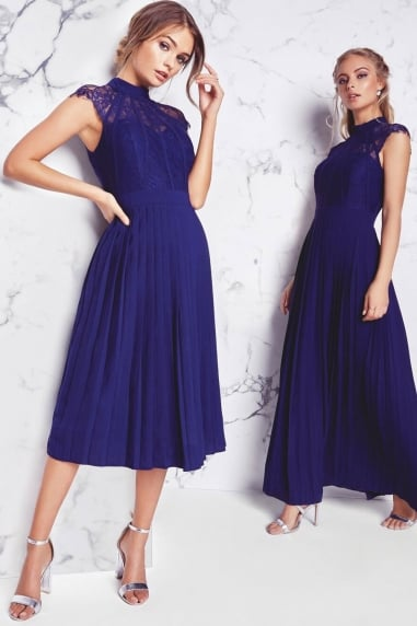 Navy Pleated Midi Dress
