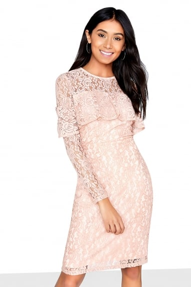 Frill Front Detail Lace Bodycon Dress