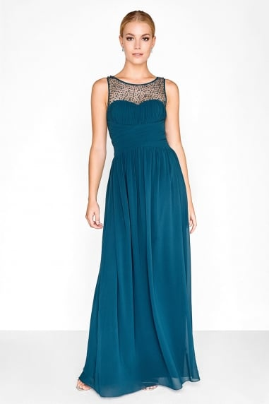 Grace Petrol Embellished Neck Maxi Dress