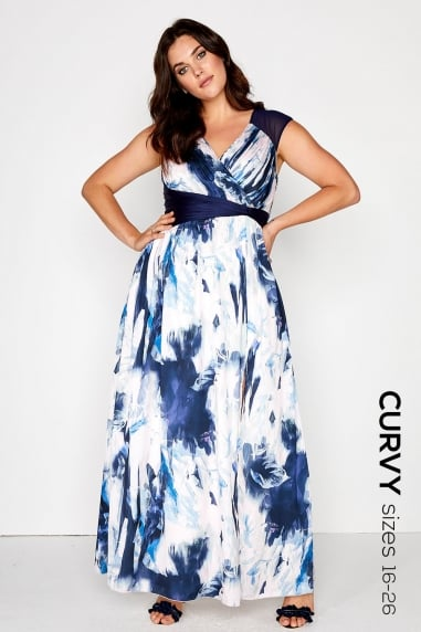 Blur Print Maxi Dress - Need retouched images
