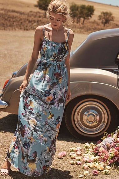 Tibby Floral Satin Maxi Dress