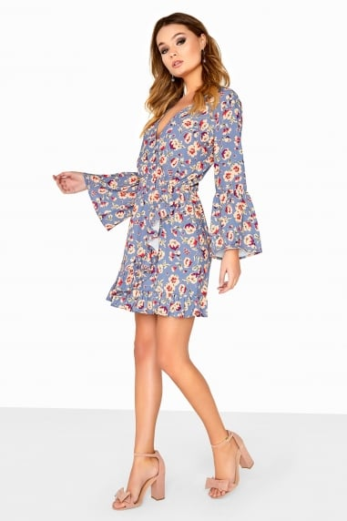 Printed Frill Sleeve Wrap Dress