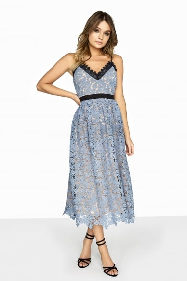 Chantal Contrast Lace Midi