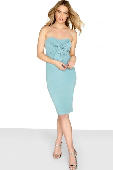 Bow Front Bodycon Midi Dress