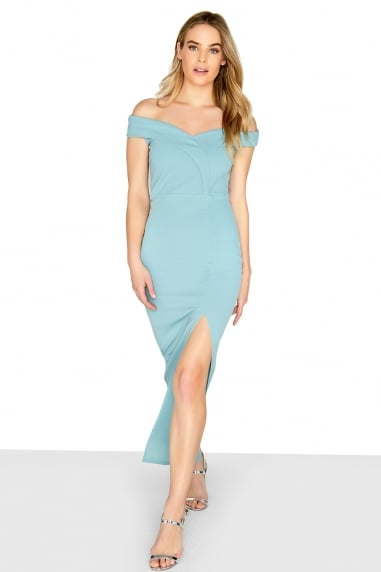 Bardot Scuba Crepe Split Front Maxi Dress