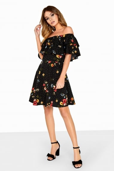 Multi Print Bardot Dress
