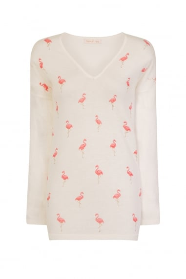 Cream Flamingo Jumper