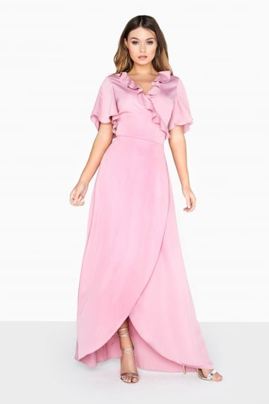 Dusty Pink Wrap Maxi Dress