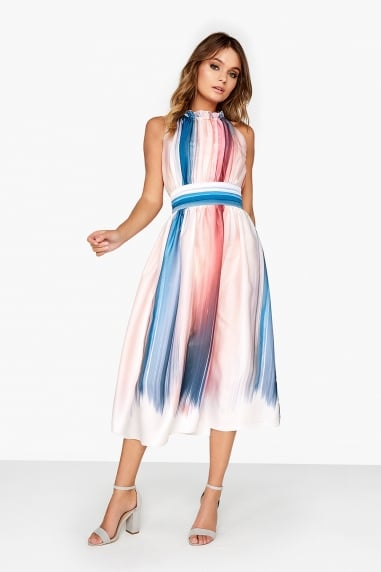 Stripe Satin Midi Dress