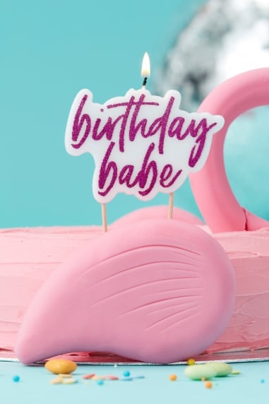 Pink Glitter 'Birthday Babe' Candle