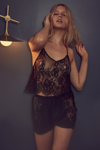 Black Lace Cami And Short Set