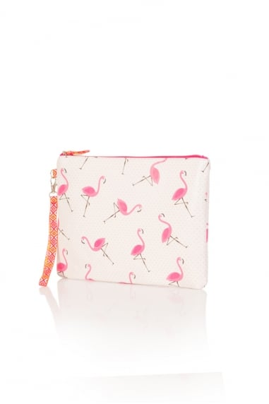 Polka Dot Flamingo Clutch