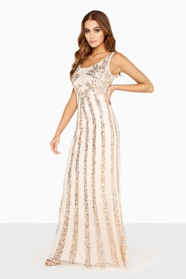 Nude Sequin Maxi Dress