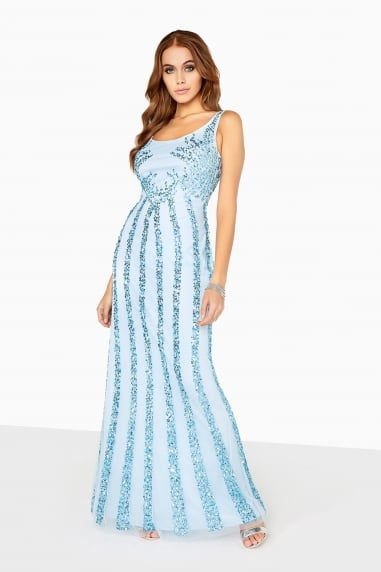 Blue Sequin Maxi