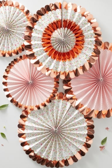 Floral Fan Decorations - 5 Pk