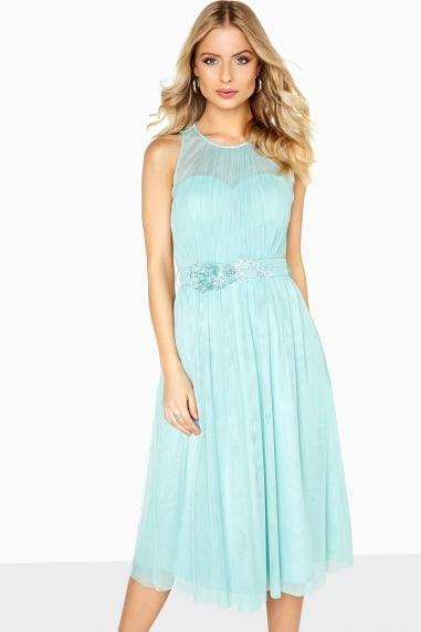 Spearmint Lace Prom Dress