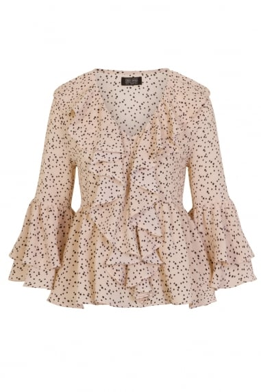 Cream Spot Frill Top