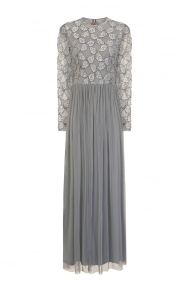 Luxury Grey Hand Embellished Embroidered Maxi