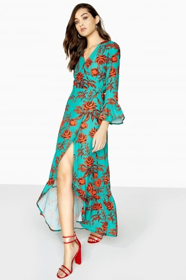 Black and Green Print Wrap Dress