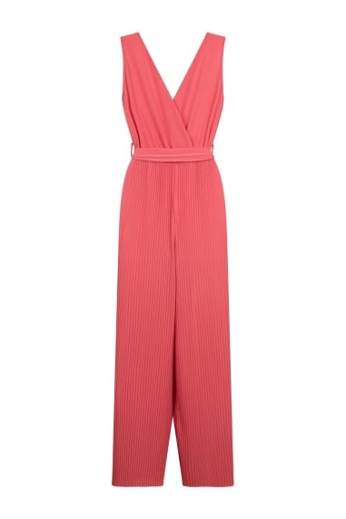 Coral Pleated Jumpsuit