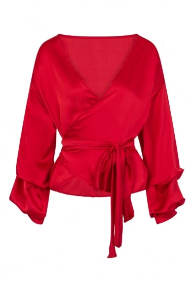 Red Silky Wrap Top