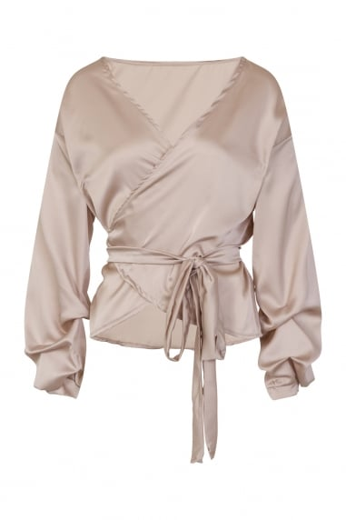 Gold Silky Wrap Top