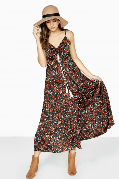 Dark Sage Green Printed Maxi