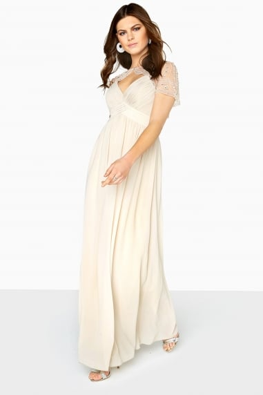 Beige Cape Maxi Dress