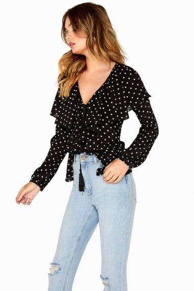 Black and White Spot Frill Top