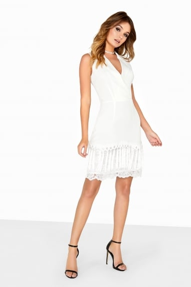 Cream Blazer Tassel Dress