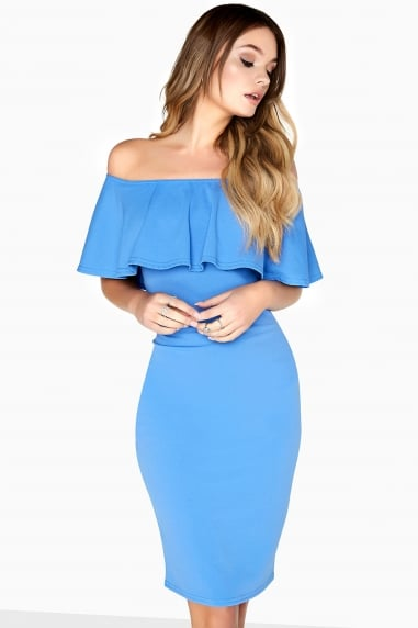 Blue Ruffle Bodycon Dress