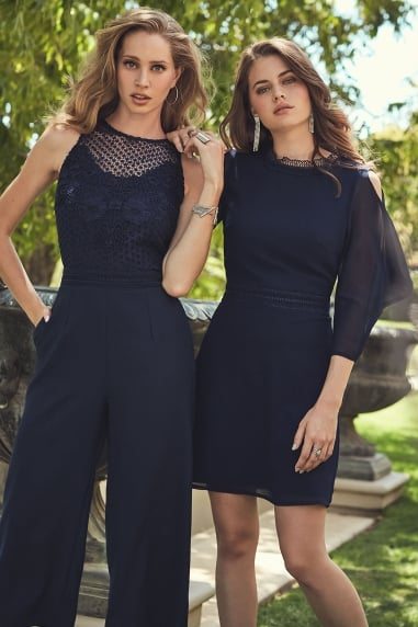 Navy Trim Shift Dress