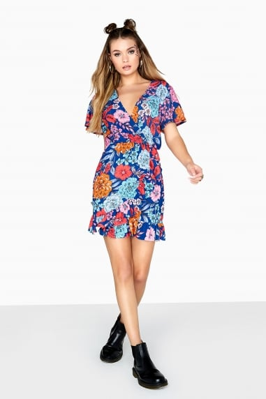 Ford Mock Wrap Dress In Bold Floral