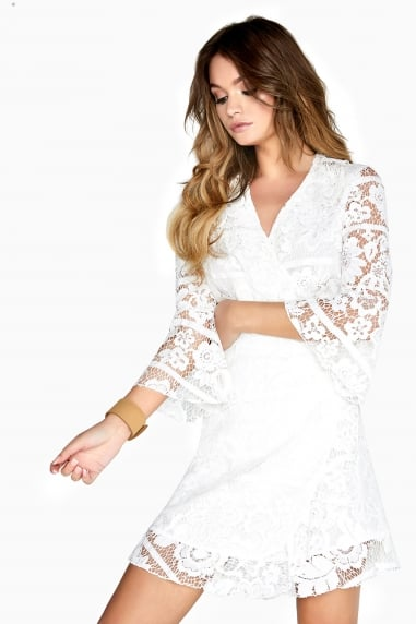 Travis Lace Panel Wrap Dress