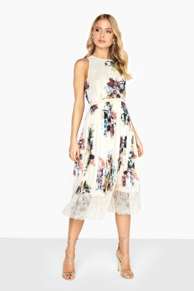 Ava Bouquet Midi With Lace Hem